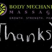 Thank you from Body Mechanix Massage