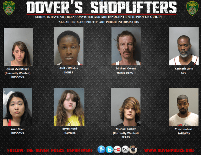 Shoplifting arrests from 8/28/14-9/4/14