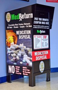 Medication drop box recently installed at the Dover Police Department