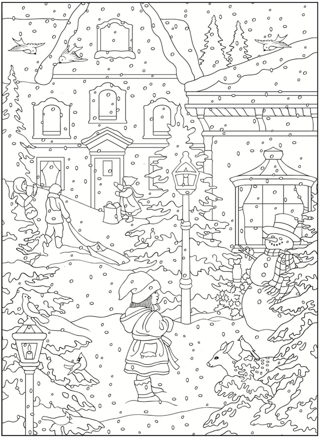 Winter Scene Coloring Page : winter, scene, coloring, Welcome, Dover, Publications