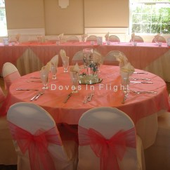Coral Sashes For Wedding Chairs Used Chair Lifts Covers Of Lansing Doves In Flight Decorating