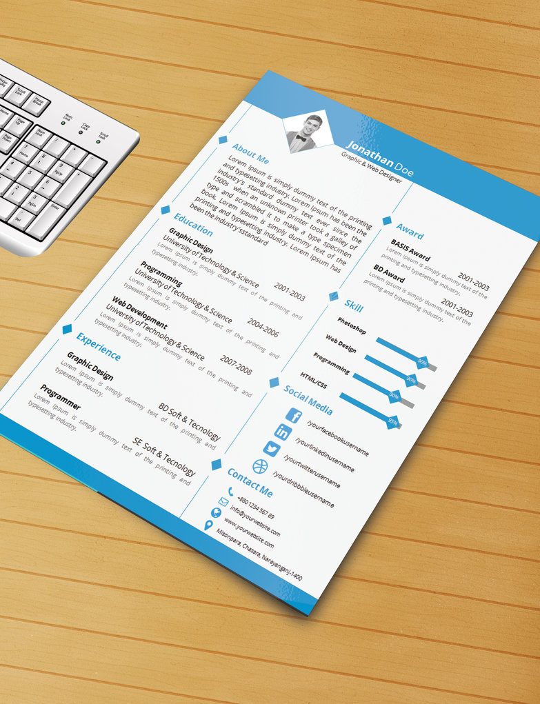 25 Beautiful Free Resume Templates 2018 - DoveThemes