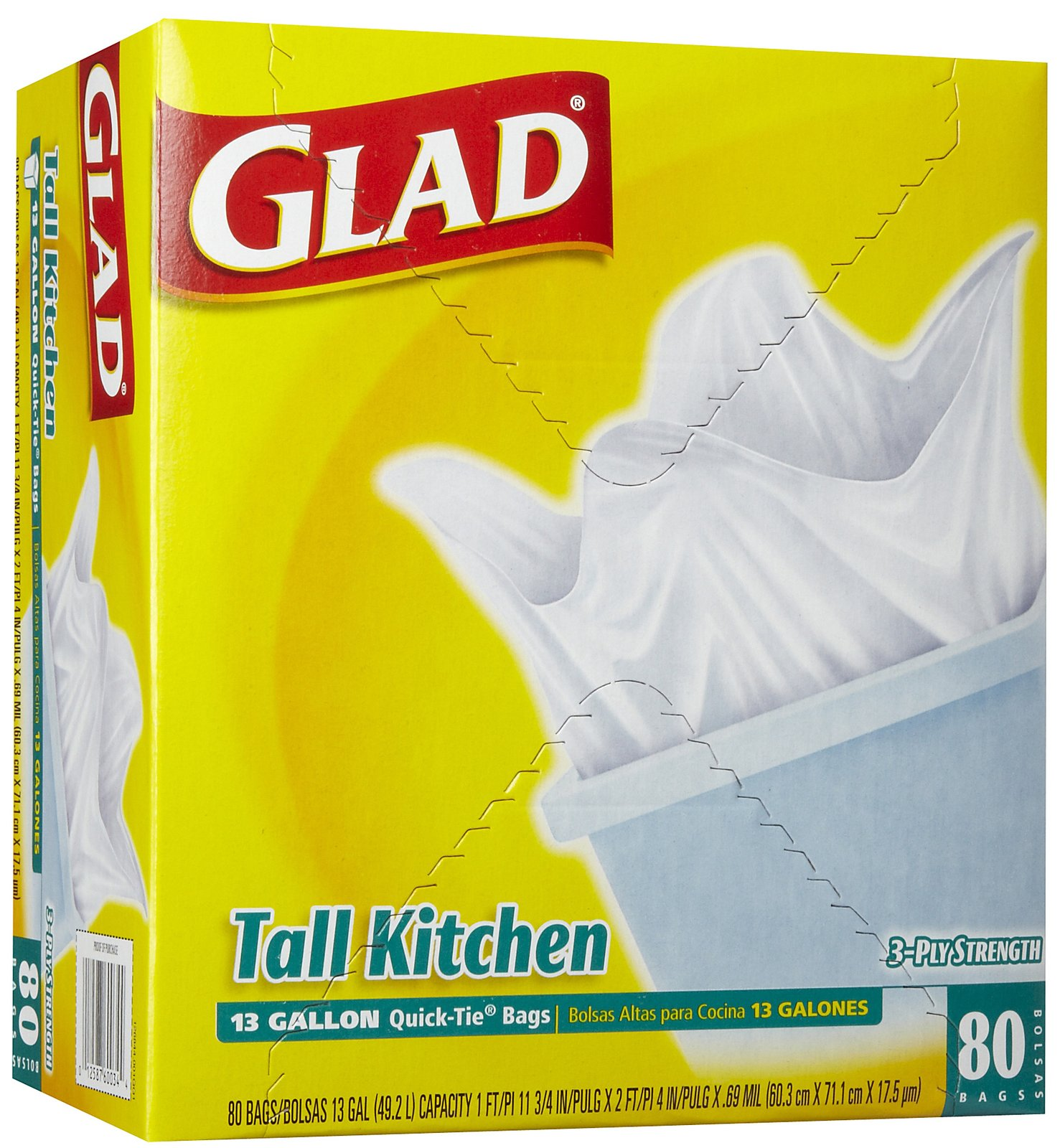 glad kitchen bags stainless steel stools 13 gallon white flap tie trash bag 4 80 case dovs by the