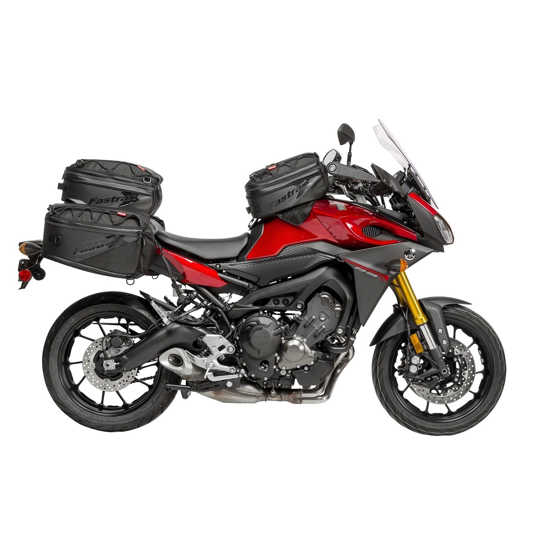 Dowco Fastrax Tank Bag, Tail Bag and Saddlebags on a Yamaha FJ-09 Motorcycle