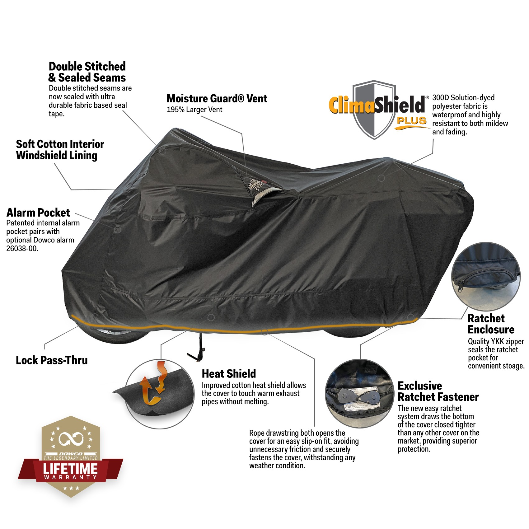 Ratchet motorcycle cover