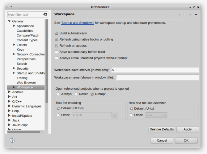 Image of eclipse preferences window