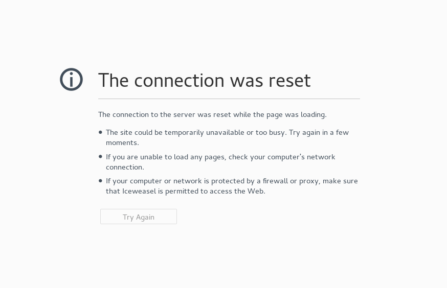 the connection was reset while the page was loading
