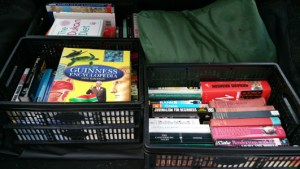 Decluttering produced these three boxes of books