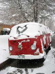 VW van with lovely snow