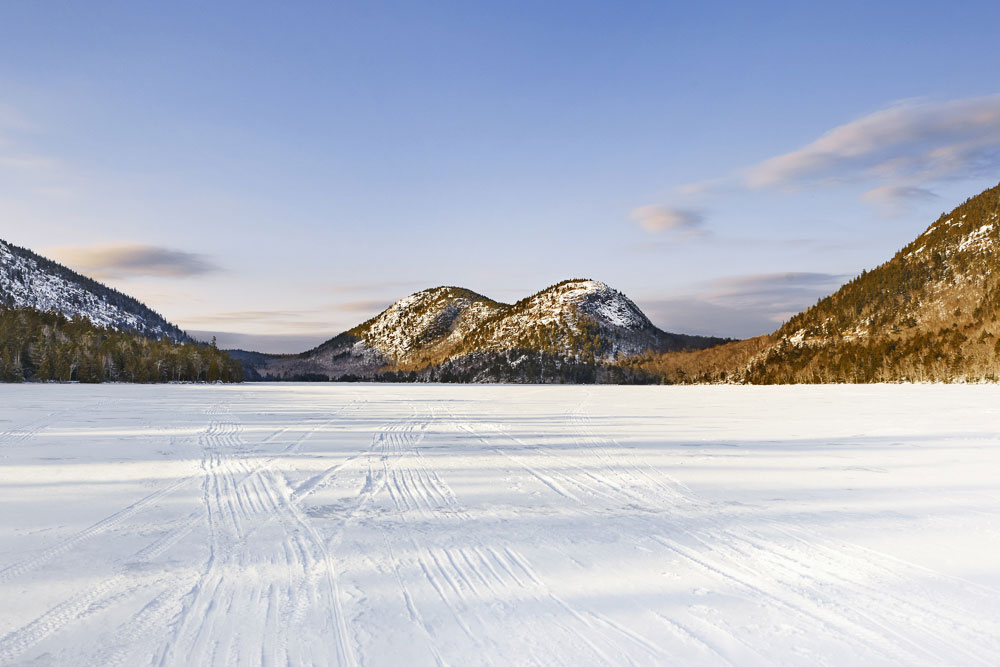 Jordan Pond is a marvel in any season - but it's easier to stand in the middle of it in winter. Skiing on ice isn't your thing? Follow the groomed shoreline trail.