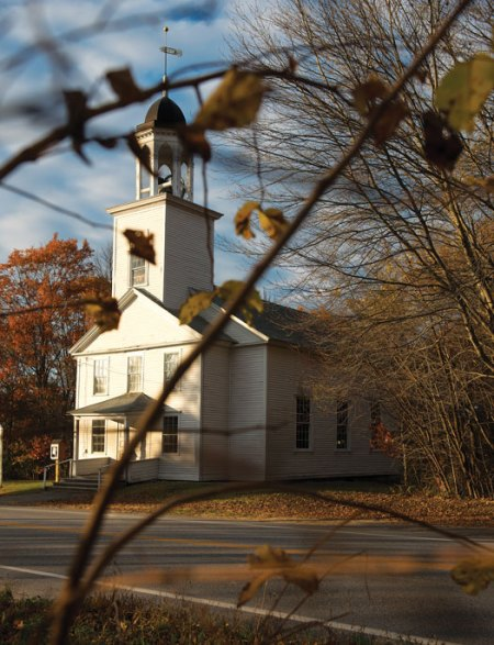 The Durham Historical Society now occupies the old town hall, also known as the Union Church, on Route 136. The looming tower went up in 1835.