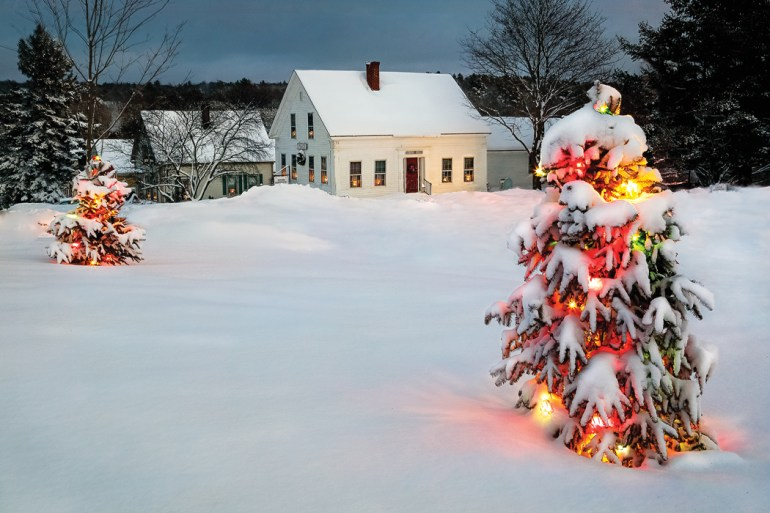 lights aglow during winter in maine