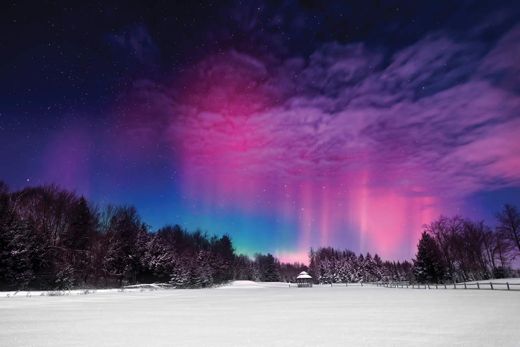 Moonlight Aurora, taken in February near Unity. Photographs by Mike Taylor