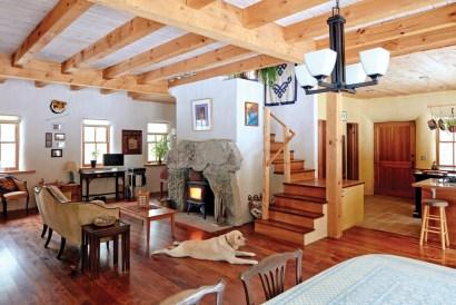Stone fireplace in livingroom