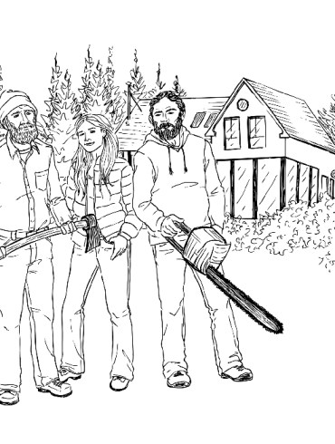 Drawing of people filming Maine Cabin Masters