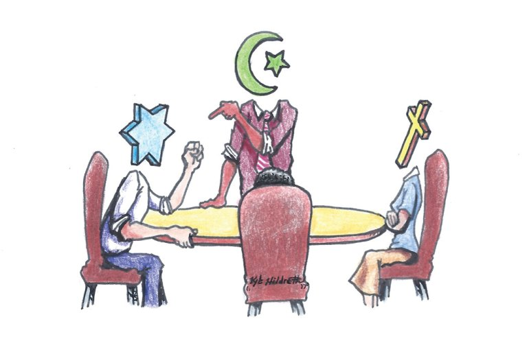 Illustration of differing beliefs around a table