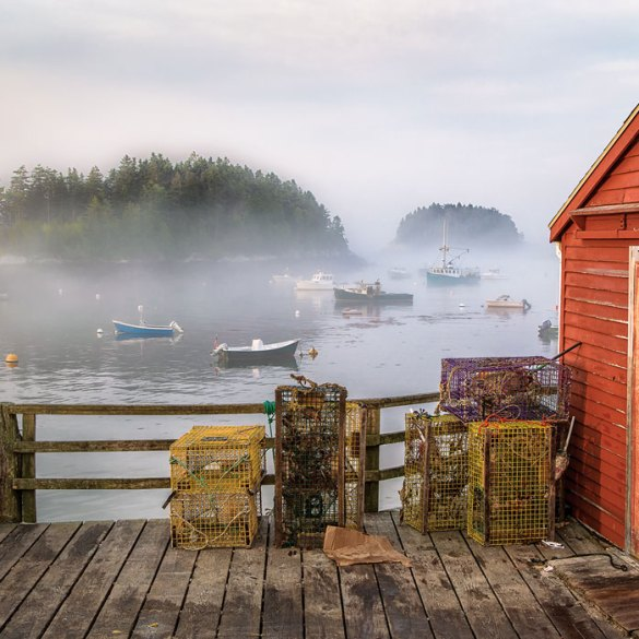 Shed on dock with lobster traps