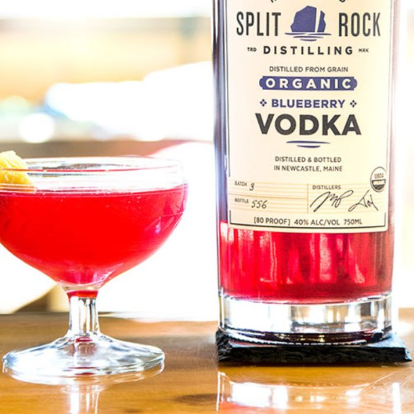 Split Rock Distilling blueberry vodka being used an a blueberry martini