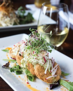 Fried green tomatoes with Maine crab.