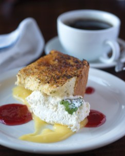 from the dessert menu, brulee'd lemon-poppyseed angel food cake with raspberry preserves and housemade whipped cream