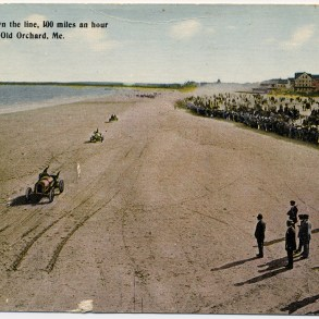 Auto-race enthusiasts cheer drivers zooming toward the Old Orchard Beach pier