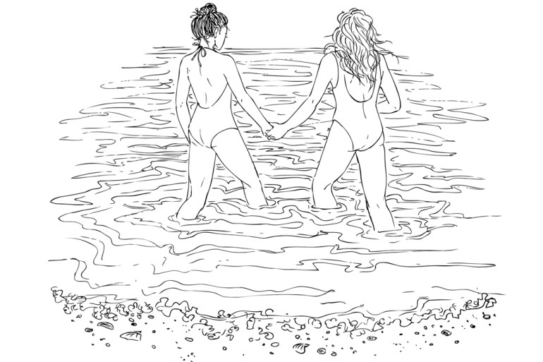 Illustration of girls at the beach