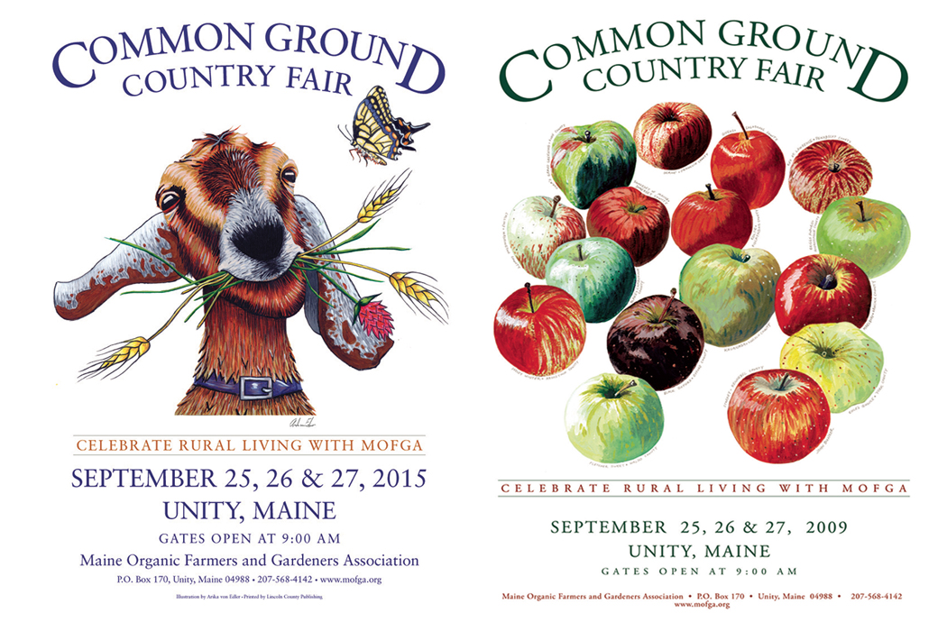 Common Ground Country Fair's annual posters - goat and apples
