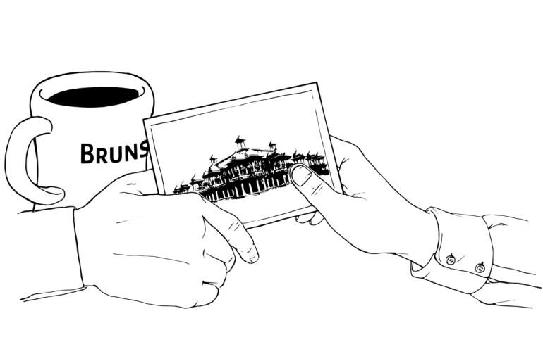 Illustration of hands passing postcard