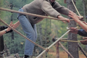 man on rope course