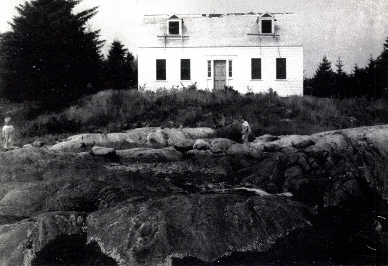 Jamie Wyeth playing on the rocks at Broad Cove
