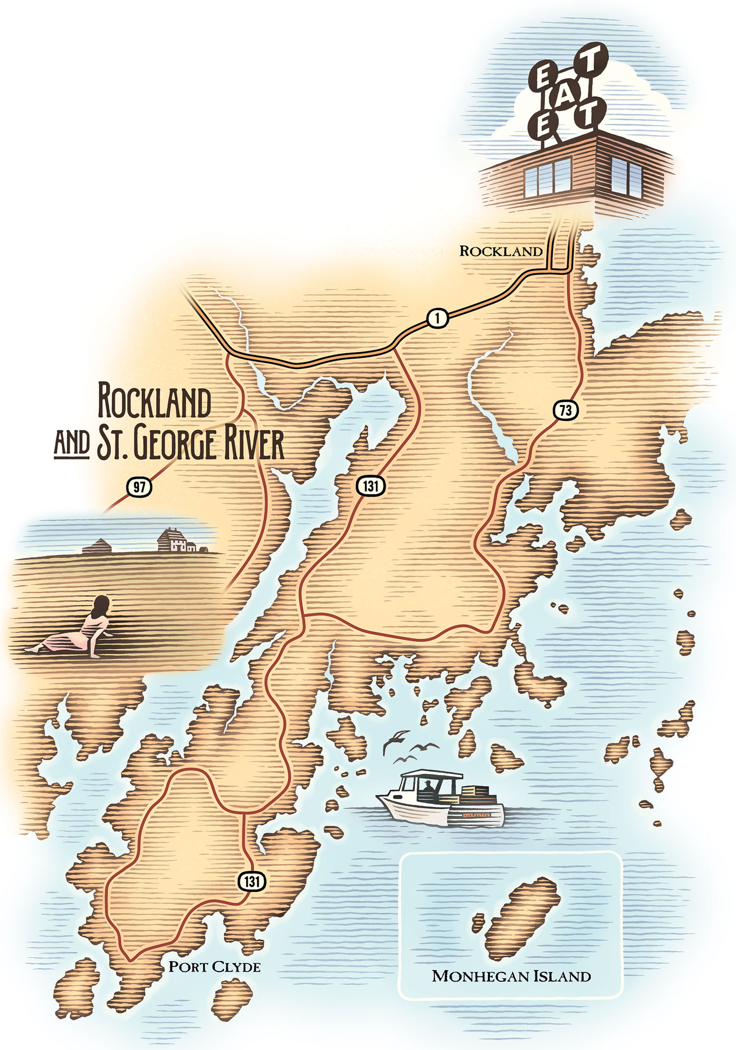 Rockland and St. George River map