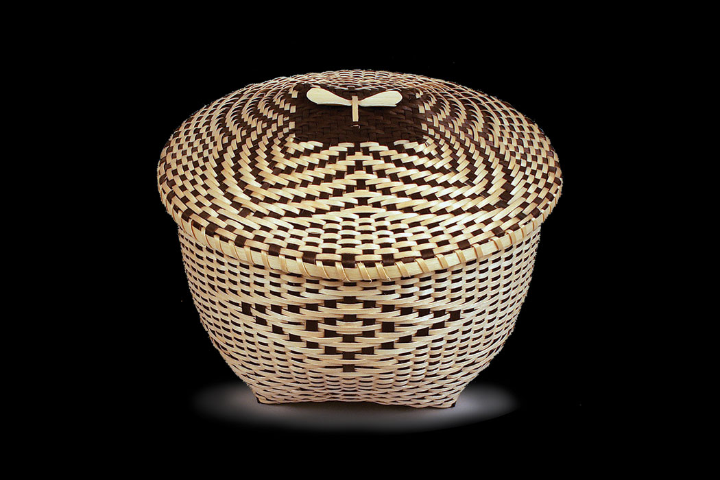 Maliseet basket by Fred Tomah, on display at the Abbe Museum in Bar Harbor.