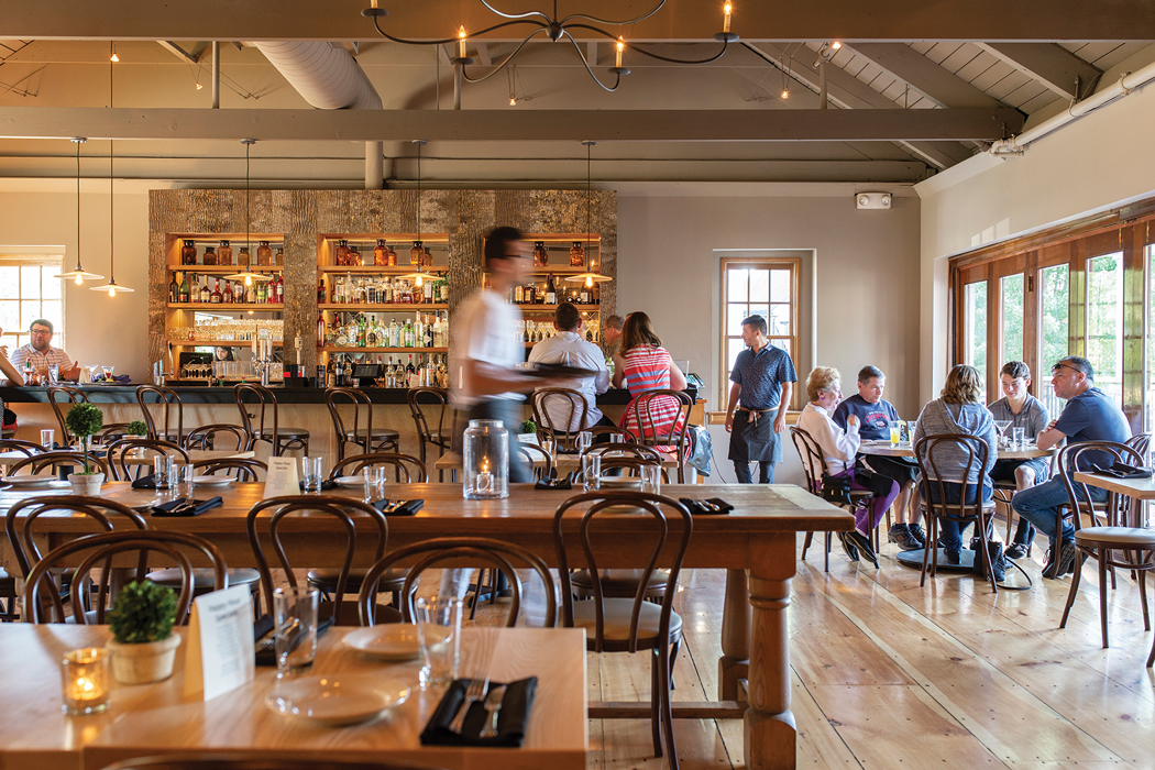 The Pearl dining room got a substantial renovation, including restoration of the wide pine floors