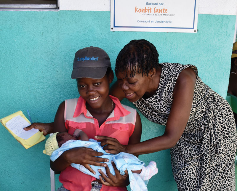 A mother and newborn get care at Fort Saint Michel Health Center, a clinic supported by Konbit Sante.