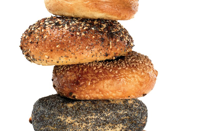 a stack of Maine's best bagels