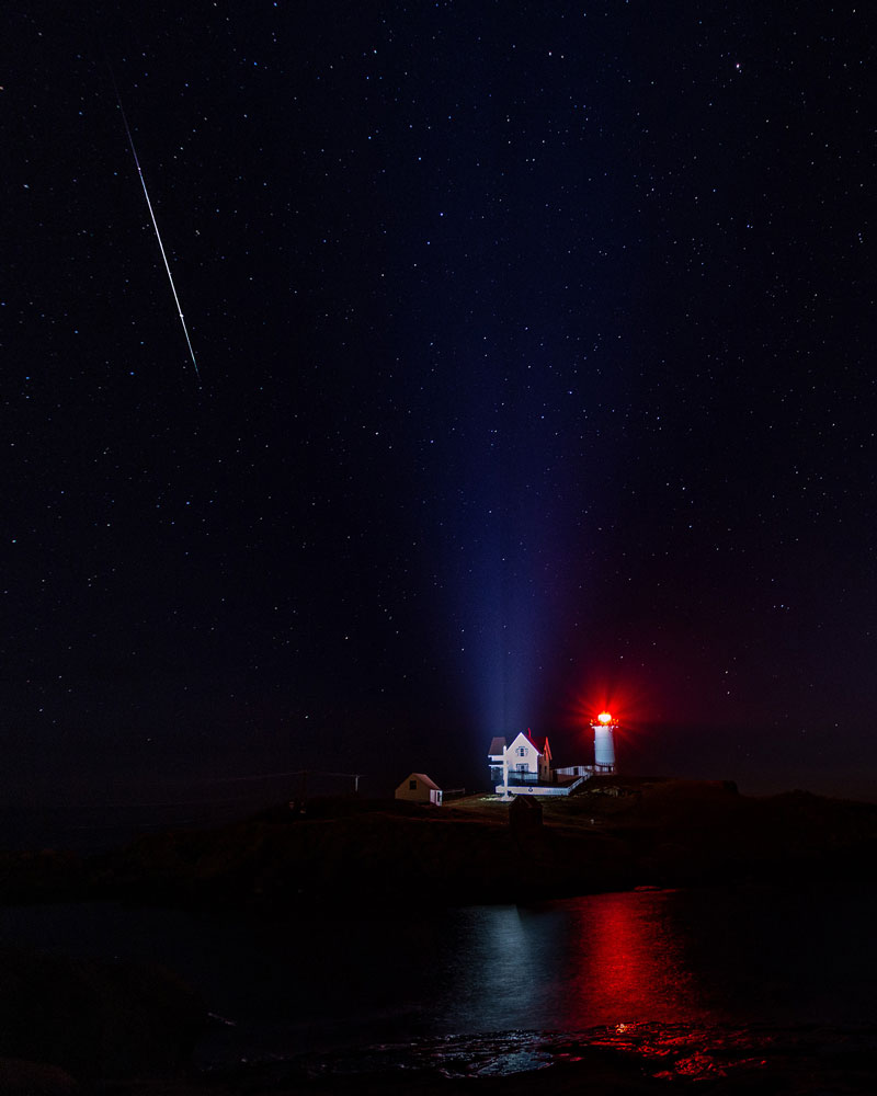 Geminid Meteor Shower at Nubble Light
