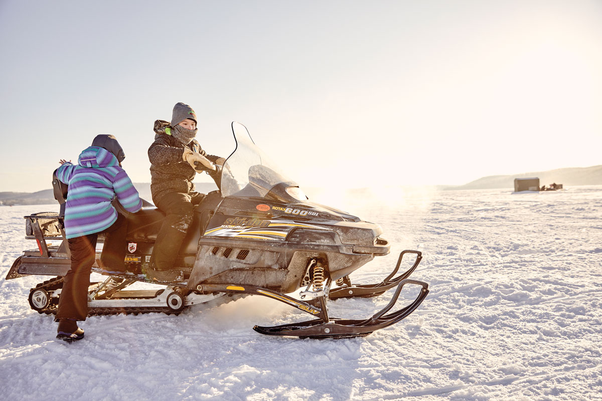Snowmobiles are a preferred method of tranportation on 6,849-acre Long Lake