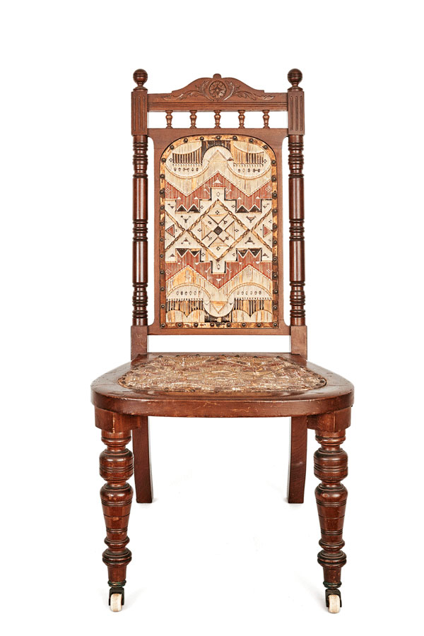 Micmac chair with quill-and-birchbark panels
