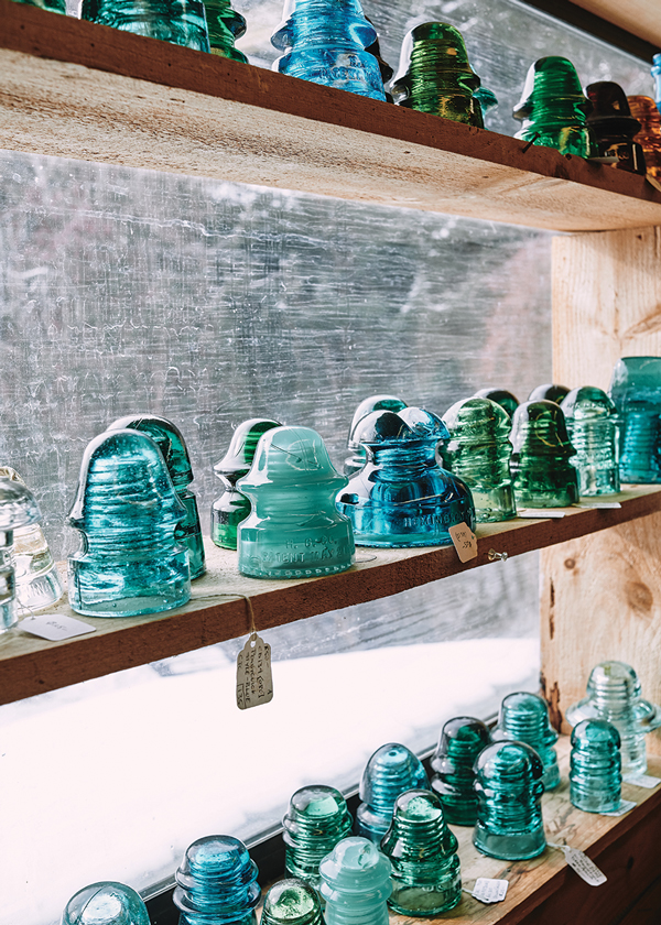 Shelf of glass insulators