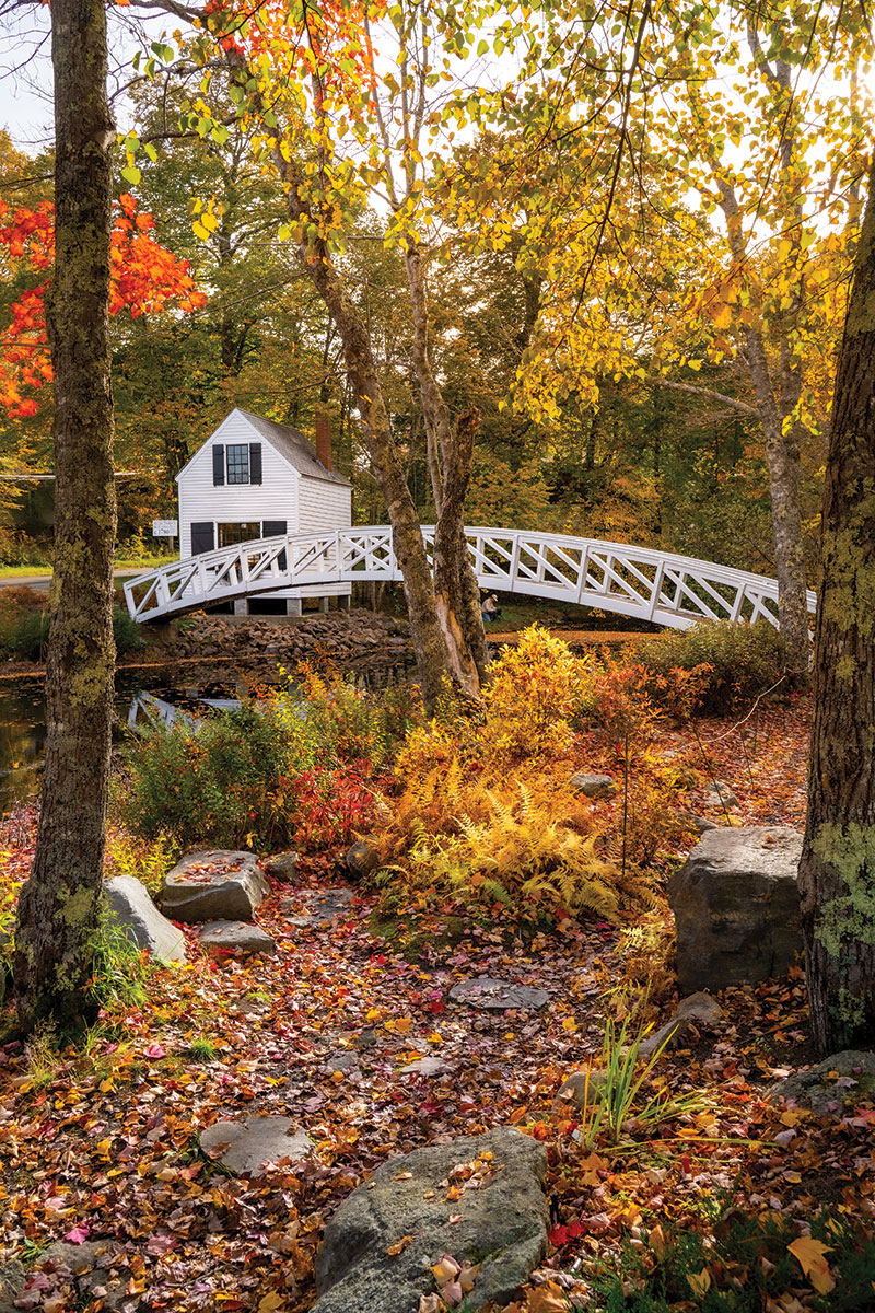 Somesville's iconic arched wooden footbridge.