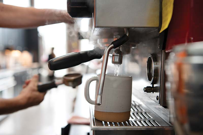 espresso brewing at Thompson's Point