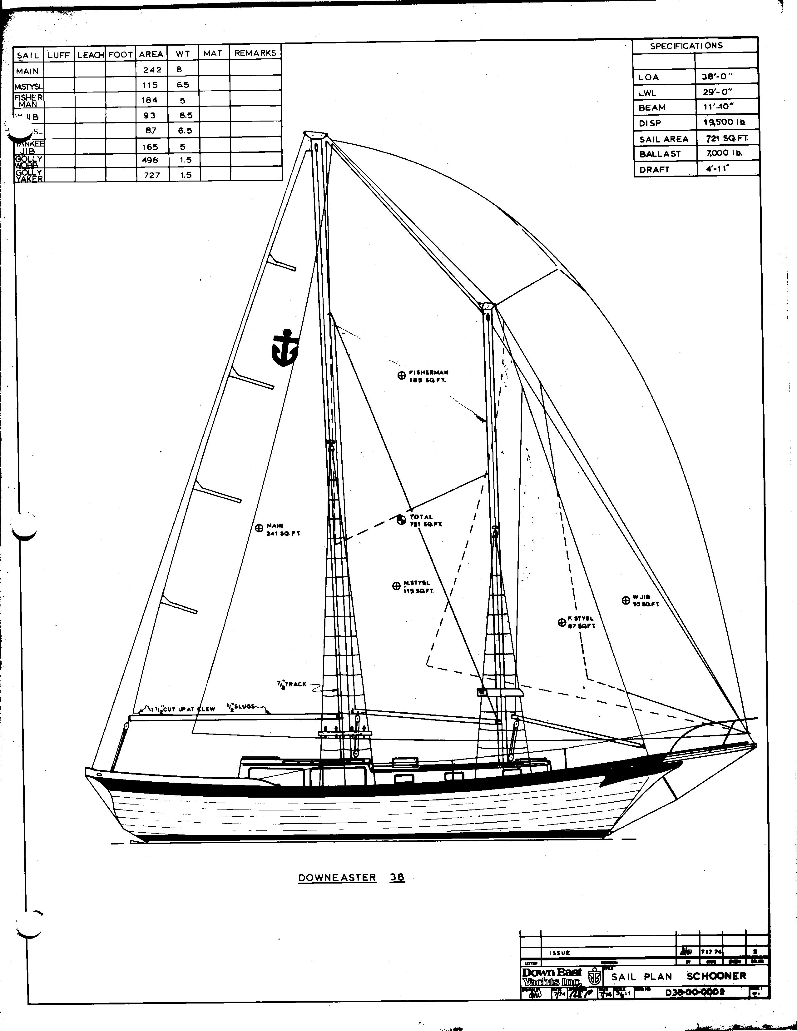 De38 Line Drawings Downeaster Yachts