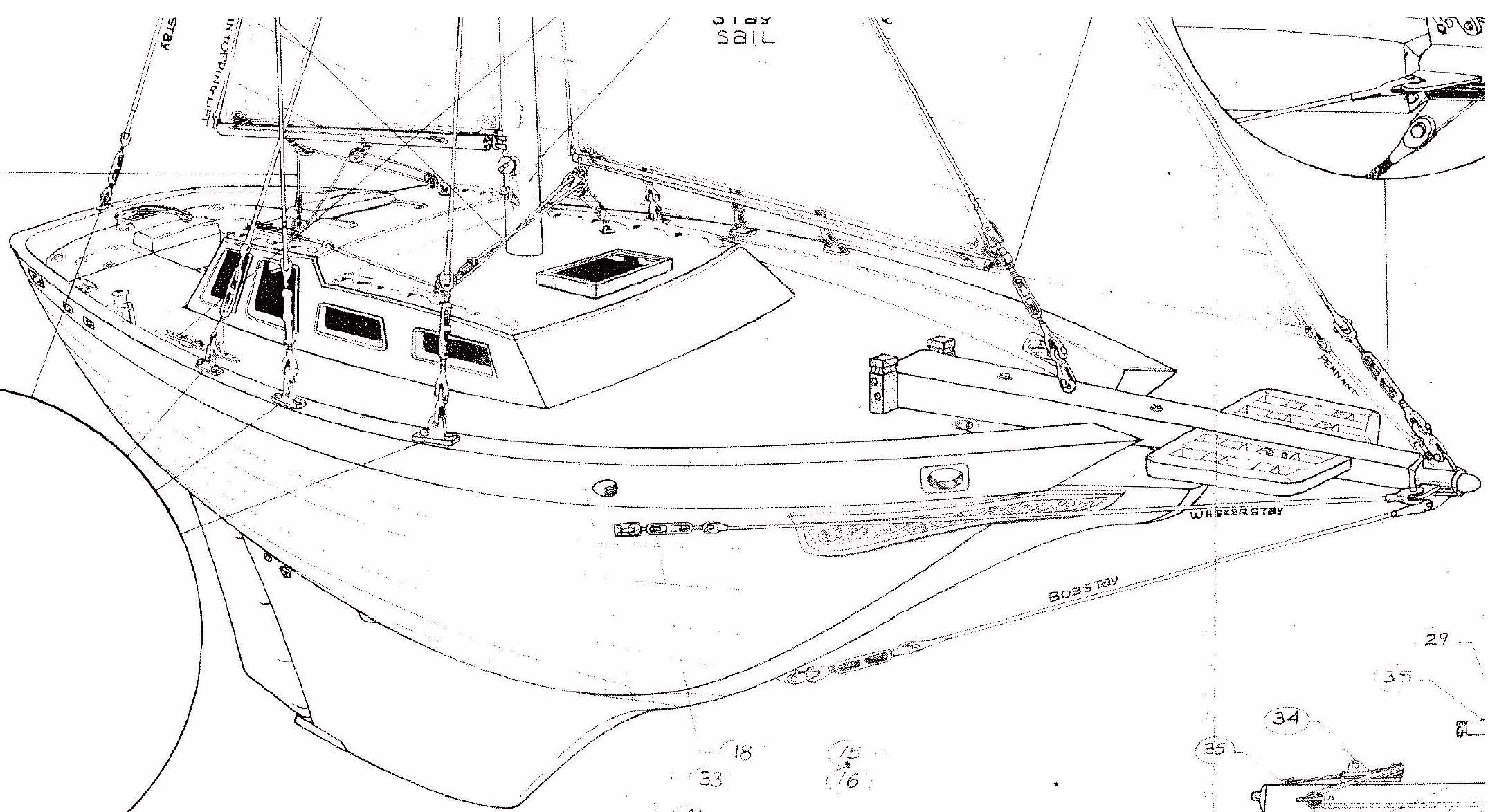 standing rigging diagram 2005 nissan 350z stereo wiring de32 cutter running and rig details  downeaster