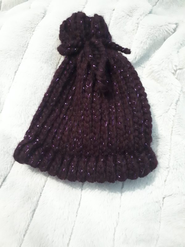 Baby hat loom knit in dark purple sparkly yarn