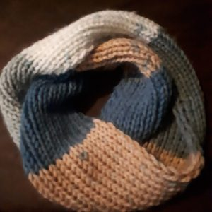 Rib stitch cowl done in Bernat Softee Chunky acrylic yarn