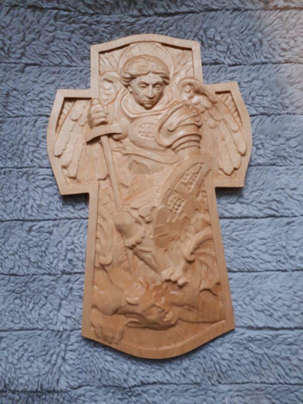 wood archangel michael 3d carving
