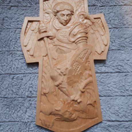 wood archangel michael 3d carving