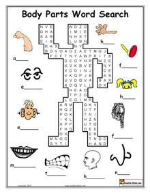 ESL, English vocabulary, Printable body parts worksheets