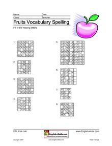 ESL, English vocabulary,Fruits