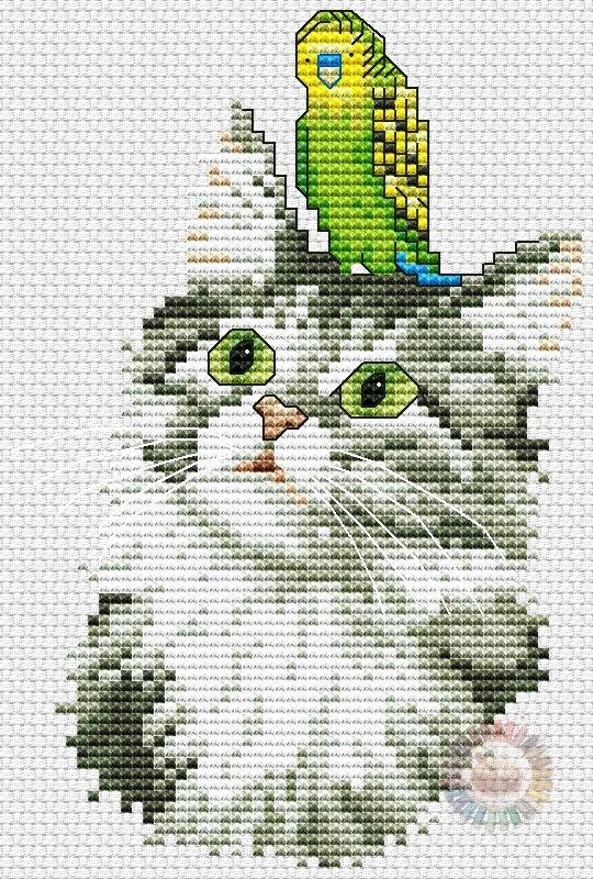 0310 Free Cross Stitch Patterns Pdf Cat And Bird Free
